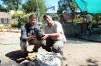 alumnos universitarios trabajan en el yacimiento del pozo del peristilo